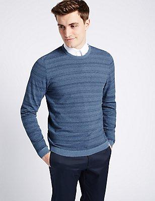Pure Cotton Striped Slim Fit Jumper, MEDIUM BLUE MIX, catlanding