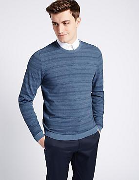 Jersey ajustado de rayas 100% algodón, MEZCLA DE TONOS AZULES MEDIOS, catlanding