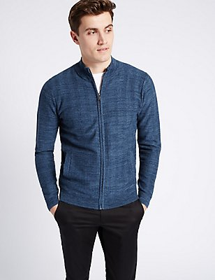 Pure Cotton Herringbone Slim Fit Jumper, TEAL MIX, catlanding