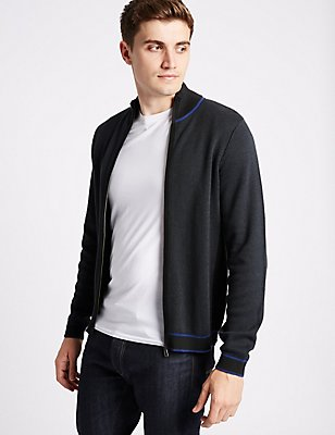 Pure Cotton Slim Zipped Through Cardigan, NAVY MIX, catlanding