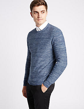 Pure Cotton Textured Slim Fit Jumper, BLUE MIX, catlanding