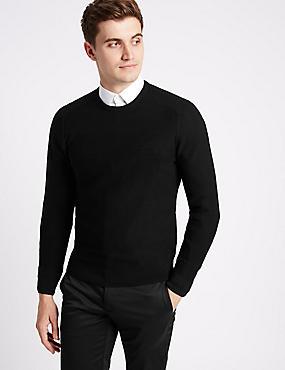 Cotton Blend Textured Slim Fit Jumpers, BLACK, catlanding