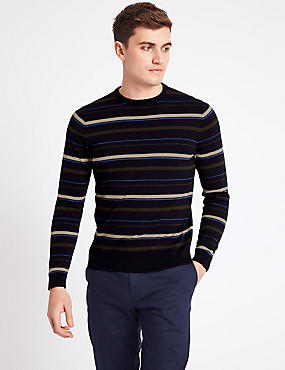 Pure Cotton Striped Slim Fit Jumper, NAVY MIX, catlanding