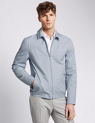 Pure Cotton Tailored Fit Checked Harrington Bomber Jacket, BLUE/WHITE, catlanding