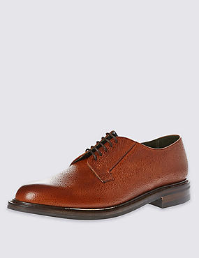 Classic 'Deal' Derby Shoe in Tan Scotchgrain Leather, BROWN, catlanding