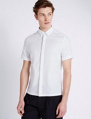 Waffle Texture Short Sleeve Shirt, WHITE MIX, catlanding