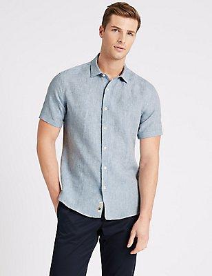 Irish Linen Short Sleeve Shirt, MEDIUM BLUE, catlanding