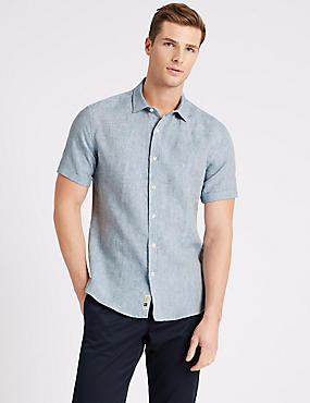 Irish Linen Short Sleeve Shirt, MEDIUM BLUE, catlanding