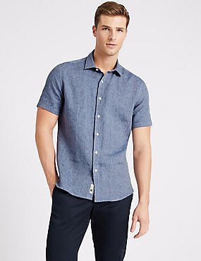 Irish Linen Short Sleeve Shirt, DARK BLUE MIX, catlanding