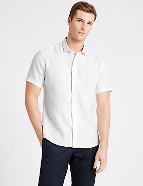 Irish Linen Short Sleeve Shirt, WHITE, catlanding