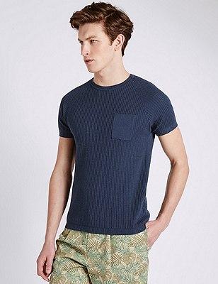 Short Sleeve Knitted T-Shirt, NAVY, catlanding