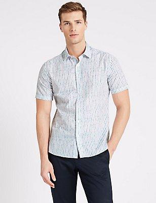 Printed Cotton Short Sleeve Shirt, BLUE MIX, catlanding