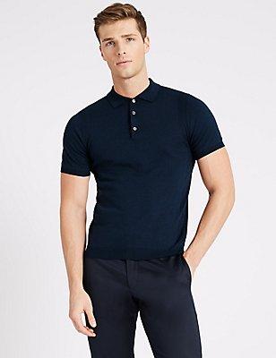 Supima® Cotton Short Sleeve Knitted Polo Shirt, NAVY, catlanding