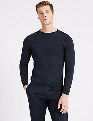 Supima® Cotton Long Sleeve Knitted Crew Neck, DENIM, catlanding
