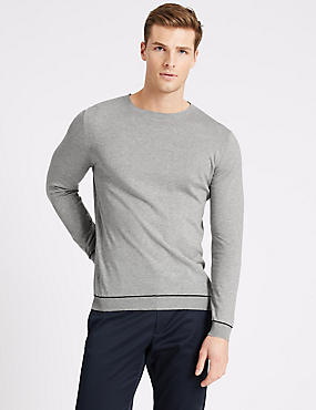 Supima® Cotton Long Sleeve Knitted Crew Neck, OATMEAL, catlanding