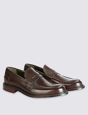 Luxury Penny Loafer in Dk Brown Calf Leather, DARK BROWN, catlanding
