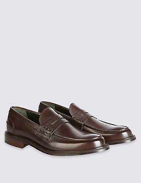 Luxury Penny Loafer in Dk Brown Calf Leather, DARK BROWN, catlanding