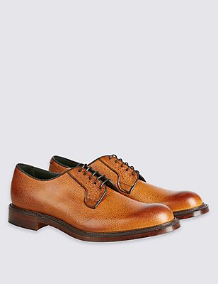 Luxury Derby Shoe in Tan Scotchgrain Leather, TAN, catlanding