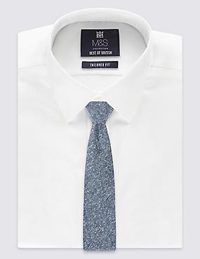 Cravate en soie à motif texturé, fabriquée à la main, CHAMBRAY, catlanding
