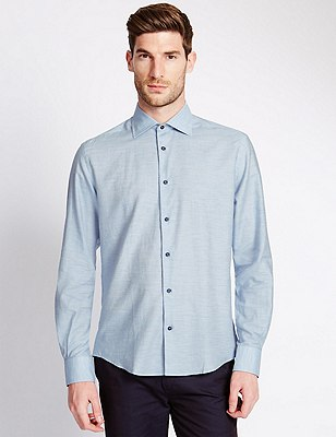 Pure Cotton Tailored Fit Shirt, BLUE/WHITE, catlanding