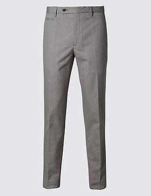 Pure Cotton Textured Flat Front Trousers, NEUTRAL, catlanding