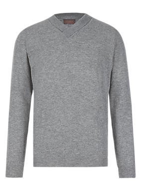 Grey Marl Made in Italy Merino Wool Blend Jumper with Cashmere