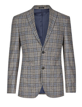 Neutral Made in Italy Wool Rich Tailored Fit 2 Button Check Jacket