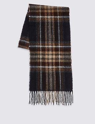 Lambswool Classic Royal Stewart Check Scarf, BROWN MIX, catlanding
