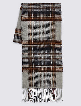 Lambswool Classic Royal Stewart Check Scarf, GREY MIX, catlanding