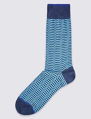 Mercerised Cotton Geo Design Socks, BLUE MIX, catlanding