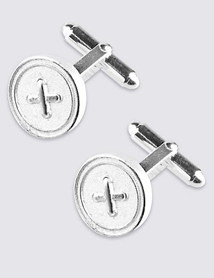 Made in the UK Round Button Cufflinks, , catlanding