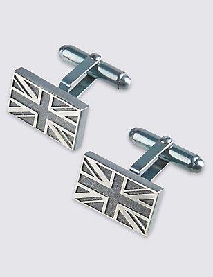 Made in the UK Union Jack Cufflinks, , catlanding