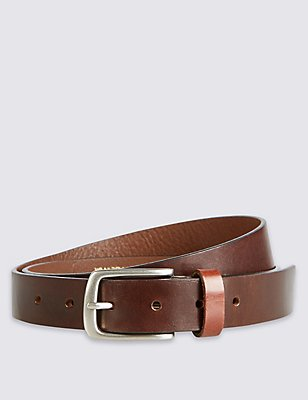 Made in the UK Brown Leather Belt, BROWN, catlanding
