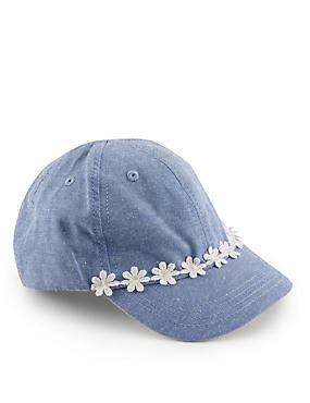 Pure Cotton Daisy Lace Baseball Cap (Younger Girls)