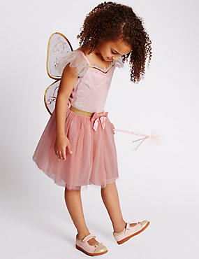 Kids' Fairy Costume with Wand & Butterfly Wings, PINK MIX, catlanding