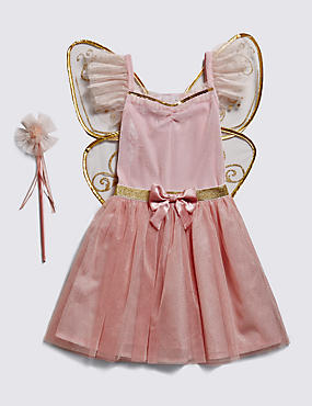 Fairy Costume with Wand & Butterfly Wings (3-8 Years)