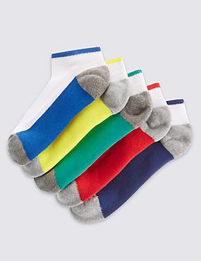 5 Pairs of Freshfeet™ Trainer Liner Socks (3-16 Years), WHITE MIX, catlanding