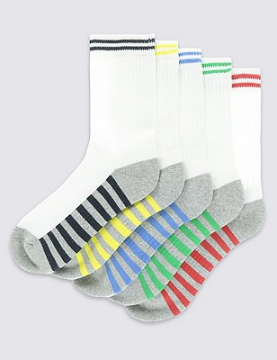 5 Pairs of Freshfeet™ Cotton Rich Sports Socks with Silver Technology , WHITE, catlanding