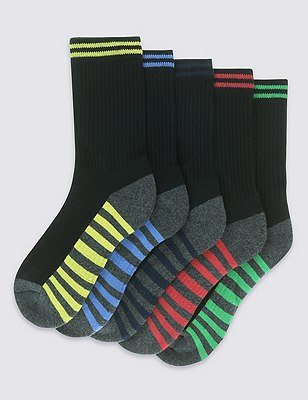 5 Pairs of Freshfeet™ Cotton Rich Sports Socks with Silver Technology , BLACK, catlanding