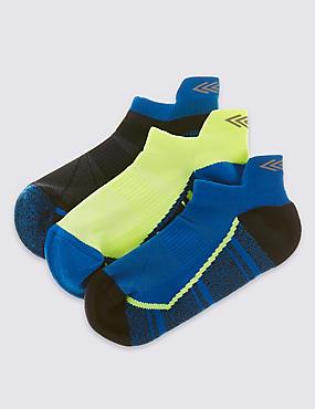 3 Pairs Patterned Trainer Liner™ Socks (5-14 Years), MULTI, catlanding