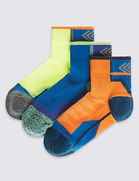 3 Pairs of Freshfeet™ Assorted Sports Socks with Silver Technology (5-14 Years), MULTI, catlanding