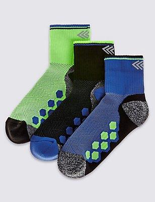 3 Pairs of Freshfeet™ Sports Socks (3-16 Years), BLUE, catlanding