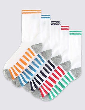 5 Pack of Cotton Rich Freshfeet™ Sports Socks (3-14 Years), WHITE MIX, catlanding