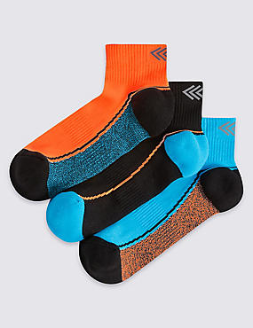 3 Pairs of Freshfeet™ Sports Socks (3-16 Years), NEON ORANGE, catlanding