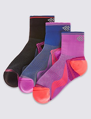 3 Pairs of Sports Socks (3-14 Years), FUCHSIA MIX, catlanding