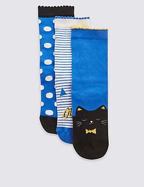 3 Pairs of Freshfeet™ Cotton Rich Assorted Socks with Silver Technology (5-14 Years), BLUE MIX, catlanding
