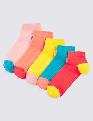 5 Pairs of Freshfeet™ Trainer Liner Socks (3-14 Years), NEON PINK, catlanding