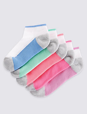 5 Pairs of Freshfeet™ Trainer Liner Socks (3-14 Years), WHITE MIX, catlanding