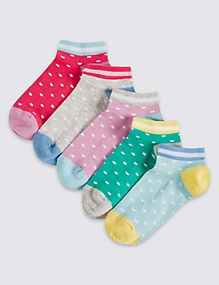 5 Pairs of Trainer Liner Socks (3-14 Years), MULTI/BRIGHTS, catlanding