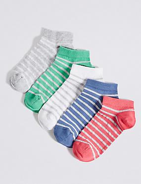 5 Pairs of Freshfeet™ Trainer Liner Socks (3-14 Years), NAVY MIX, catlanding
